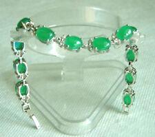 Green Jade Beads 18KWGP Crystal Clasp Women Lady Girl Party Bangle Bracelet