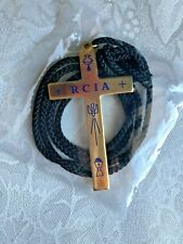 "RCIA CROSS NECKLACE Gold Finish 30"" Black Cord Pendant 2-1/4"" NEW  VERY-SYMBOLIC"