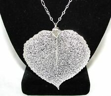 """NEW NATURAL REAL 3"""" JUMBO SILVER PLATED ASPEN LEAF PENDANT+LONG CHAIN NECKLACE"""