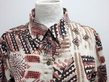 CHICO'S Women's Blouse Top Button Down Shirt Size 1 (Small) Urban/Indian Print