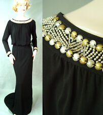 NWT ST JOHN COUTURE MATTE JERSEY GOWN SZ 4  INTRICATE BRUSHED METAL TRIM