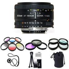 Nikon 50mm F/1.8 D AF Lens (Import) w/ 9 Piece Filter Kit & Macro Close Up Set