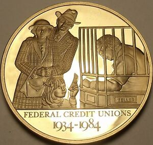 44.2mm Solid Bronze Proof Federal Credit Union 50 Years Of Service Medallion~F/S