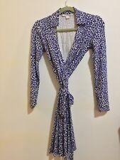 DVF Diane von Furstenberg Purple Leopard Print Long Sleeve Wrap Dress SZ 2