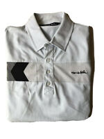 Travis Mathew Golf Polo Men's Large Blue W Silver Gray Black Stripe Logo