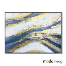 New Framed Hand Painted Modern Abstract Oil Painting Canvas Wall Gold Home decor