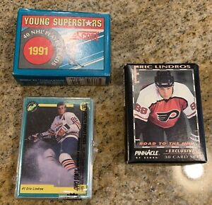 Lot of Eric Lindros Hockey Cards Rookie 1991 1992 Score Pinnacle Topps Gold