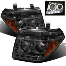Fit Nissan 05-08 Frontier / 05-07 Pathfinder Smoke Halo LED Projector Headlights