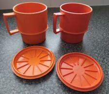 More details for tupperware harvest vintage picnic stacking cups x2 + lids camper mugs look!