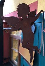 Engel kletternd zum Einhängen Flügel 3 D 50cm x 45cm Hängend Edelrost