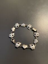 Retired & Very Rare JAMES AVERY Cats & Hearts Link Bracelet Sterling Silver 925