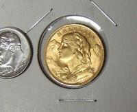 1927-B Swiss Helvetia Gold 20 Franc Uncirculated AGW 0.1867 Actual Gold Weight