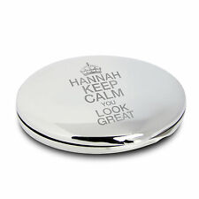 Laser Engraved Round Compact Mirror - Keep Calm You Look Great - For Her