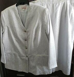 San Laurance Plus Size 22 Silver Paisley Jacquard Skirt Suit