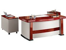 Large Executive Desk With Walnut Veneer & White Faux Leather Panels