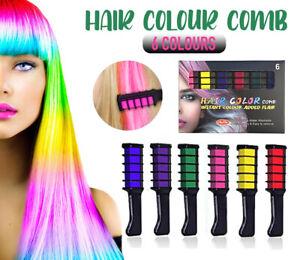 6 Colours Hair Chalk Comb Kit Washable Hair Dye Brush Kids Girls Party Temporary