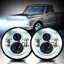 "7"" LED Projector Headlamps Headlights Chrome Housing DOT G10 20 30 C10 Pair"