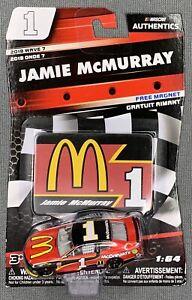 NASCAR AUTHENTICS #1 JAMIE McMURRAY McDONALD'S W/ FREE MAGNET -2018 WAVE 7- 1:64
