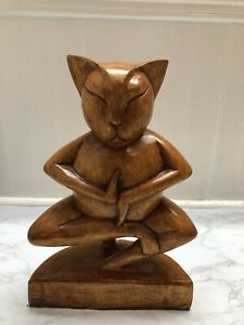 Wooden Hand Carved Yoga Tree Pose Cat Sculpture Statue Home Decor Figurine