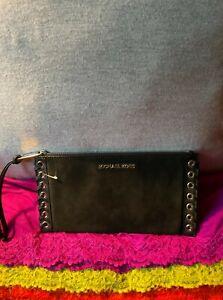 Michael Kors Suede Black Leather Trim Credit Card Zip Clutch/Wallet/Wristlet