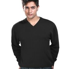 V Neck Sweater Cashmere High Quality Fashion Mens Casual Jumper Black sz S