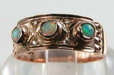 ENGLSH LARGE 9CT ROSE GOLD AUSTRALIAN OPAL & DIAMOND BAND RING FREE RESIZE