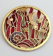 Red & Pink Enamel Fish Goldtone Round Brooch Pin
