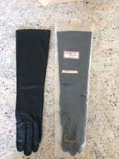 """Vtg. Ladies Women Gloves Crescendoe Crelon All Nylon Sz 7 Black 14 3/4"""" Long"""