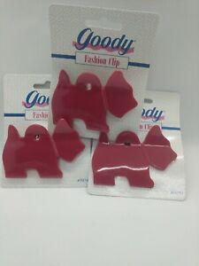 Goody Fashion Doggie Hair Clip NIP! RED VINTAGE (Lot of 3)