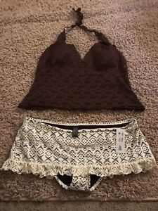 Bisou Bisou XL Brown/White Tankini (Bottom Is New/Top Used No Tags)