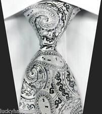 New Classic Paisleys White Black JACQUARD WOVEN 100% Silk Men's Tie Necktie