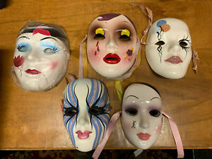 Ceramic Art Face Mask MardiGras- set of 5, with ribbons