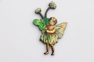 FLOWER FAIRIES COLOURFUL WOODEN THE WHITE CLOVER FAIRY BROOCH PIN BADGE