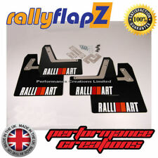 rallyflapZ Mitsubishi Evo 7 GSR Mud Flaps & Fixings 4mm Black Ralliart White R&O