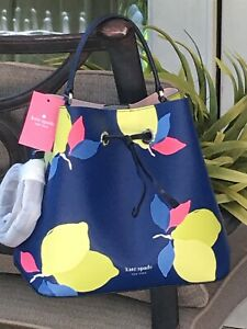 KATE SPADE EVA LEMON ZEST LARGE BUCKET SHOULDER TOTE BAG NAVY BLUE YELLOW $379