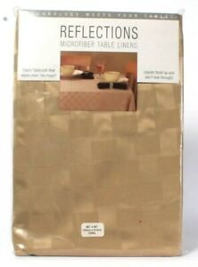 """1 Count Reflections Microfiber Table Linens 60"""" X 84"""" Oval Khaki Tablecloth"""