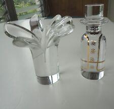 2 MCM Modern Glass Paperweight Kosta Sweden Warff Man Rosenthal 6 Petal Flower