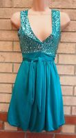 BAY GREEN BUBBLE BELTED SEQUIN SEQUINS BEADED SKATER PARTY EVENING DRESS 10 S