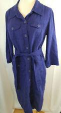 Boden Women 8L Linen Shirt Dress Button Front Roll Tab 3/4 Sleeve