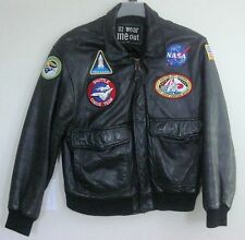 FLIGHT Jacket BY u2 WEAR ME OUT  Mens Size 40 Black  with NASA Patch.