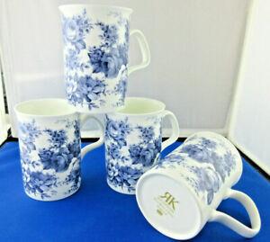 BLUE CHINTZ FOUR FINE BONE CHINA mugs,NEW DESIGN Made In England RoyKirkham 10oz