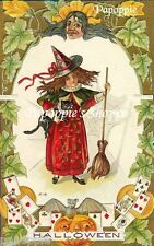 Fabric Block Halloween Vintage Postcard Image Girl Trick or Treat Small Witch
