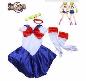 Sailor Moon Usagi Tsukino Costume Uniform Dress w/Glove & Headpiece for Cosplay