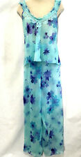 Private Luxuries Pajama Set L Sexy Sheer Teal Blue Floral Sleeveless Wide Leg