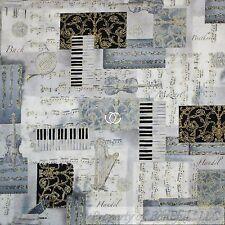 BonEful Fabric FQ Cotton Quilt B&W White Black Gold Metallic Music VTG Patchwork