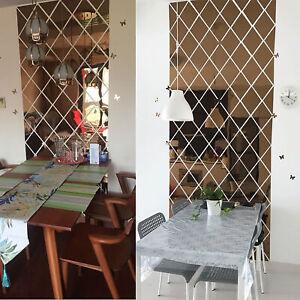 DIY Rhombus Mirror Wall Sticker Background Home Splicing Decal Decoration