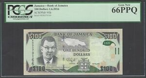 Jamaica 100 Dollars 1-6-2016 P95b Uncirculated Graded 66