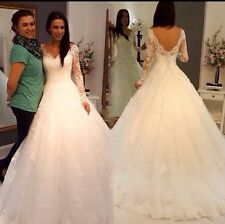 UK White/ivory V- Neck Long Sleeve Wedding Dress Bridal Gown  Size 6-22