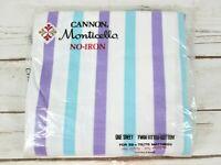 Canon Monticello Twin Fitted Bottom Sheet Blue Purple Stripe No Iron Muslin Vtg