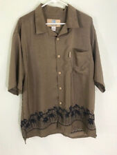 Coconut Pier by Top Image USA shirt mens XXL buttonfront S/S tan oriental bamboo